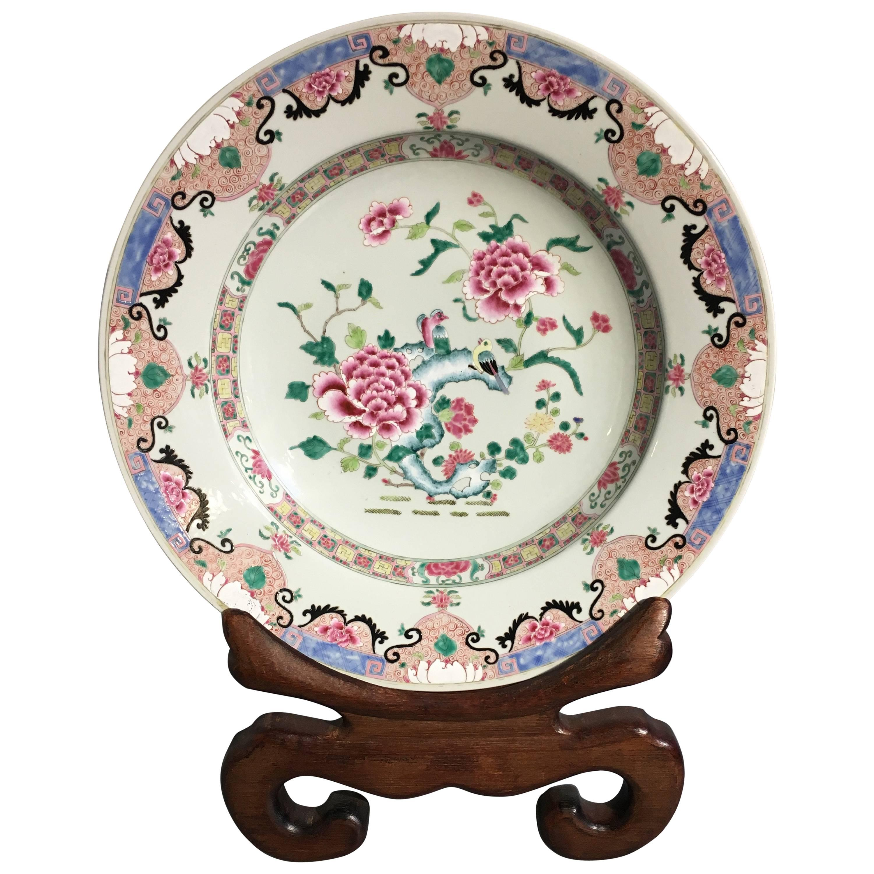Yongzheng Chinese Export Style Famille Rose Large Charger, 20th Century