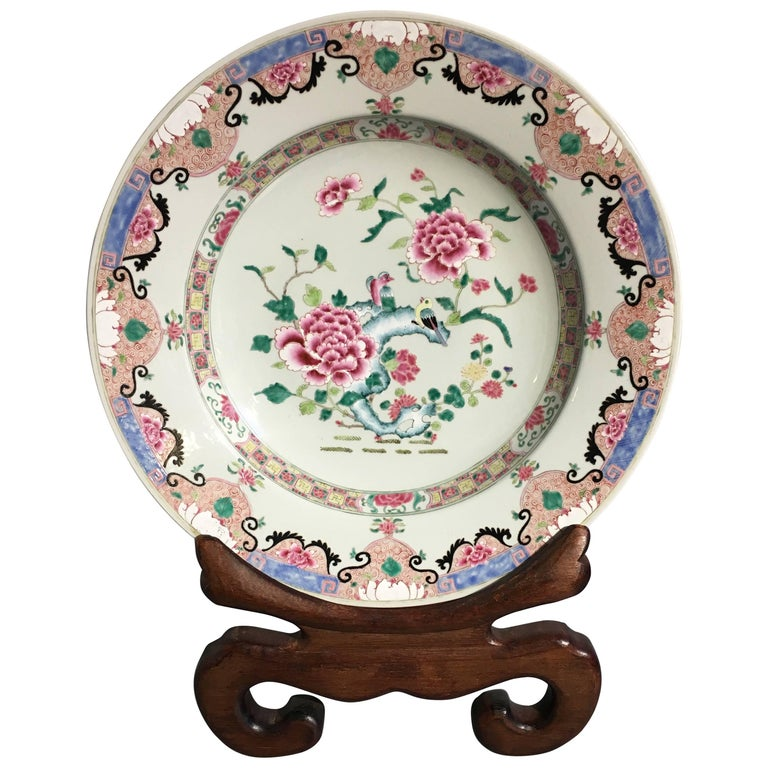 Yongzheng Chinese Export Style Famille Rose Large Charger, 20th Century For Sale
