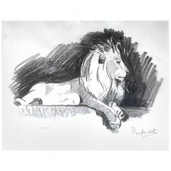 Paul Jouve Period Original French Drawing Most of Lion by Raylambert, 1940