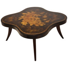 Hollywood Regency Leather Top Cocktail Table