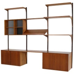 Beautiful 1960s Poul Cadovius Danish Teak Wall Unit, Shelving System by Cado 'e'