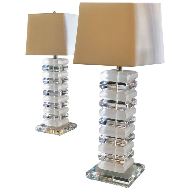 Pair of Mid Century Modernist Stackable 1970s Tall Lucite Table Lamps For Sale