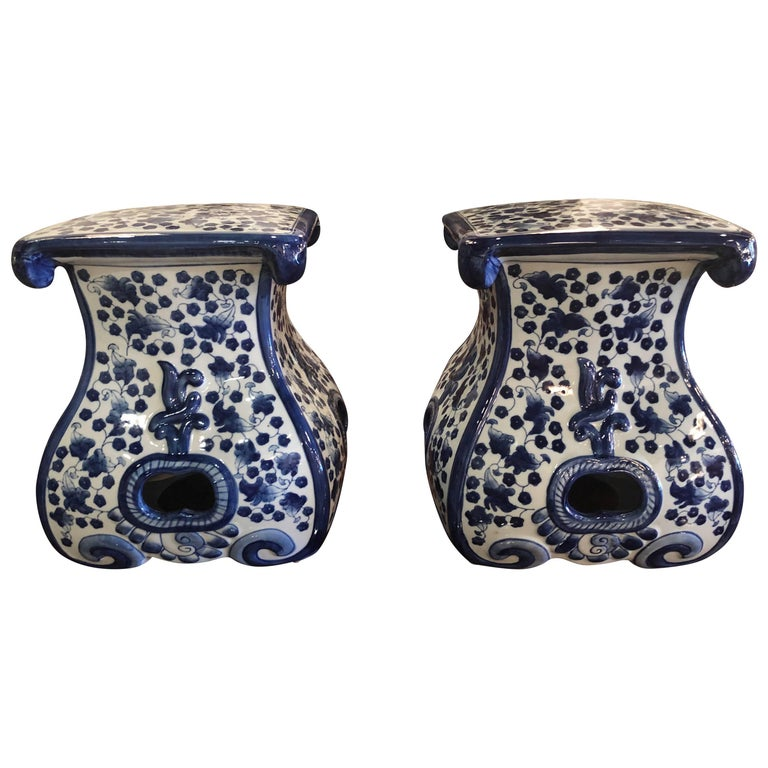 Pair of Blue and White Ceramic Garden Stools Benches Stands