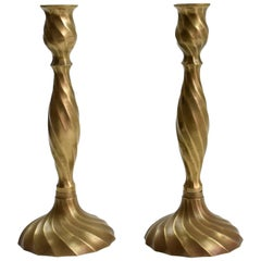 English Midcentury Bronze Candleholders, 1950's