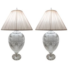 Pair of Extra Large Italian Crystal Table Lamps