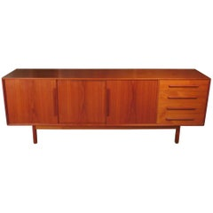 Danish Teak Sideboard Credenza with Fitted Sliding Doors, circa 1960-1970