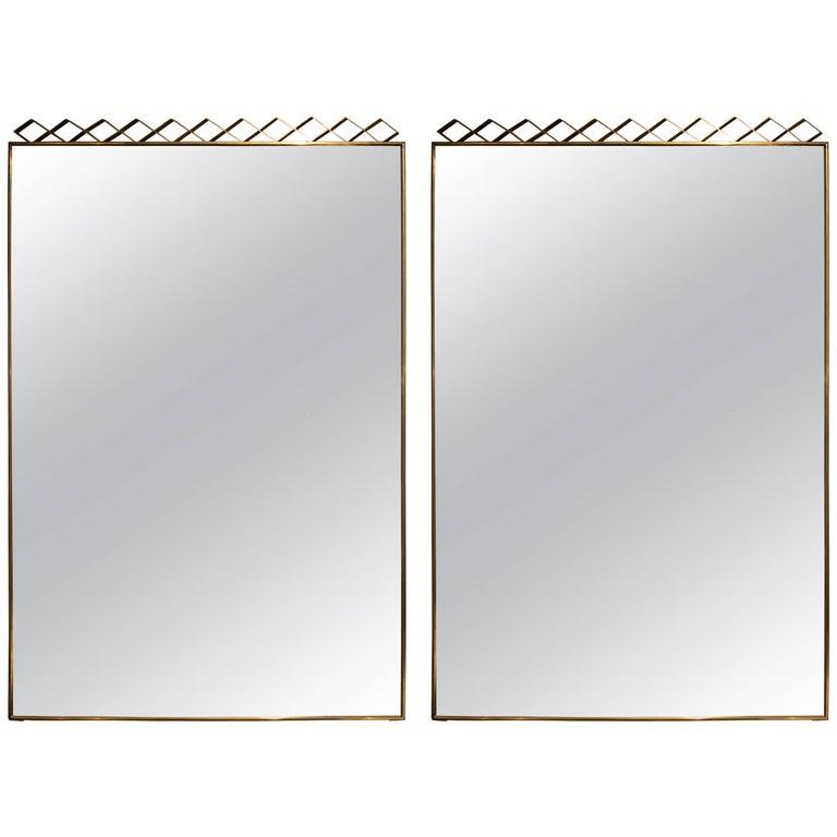 Pair of Brass 1950s Italian Mirrors