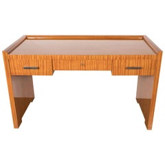 French Art Deco Bookmatched Satinwood Desk with Silvered Pulls by Jean Royère