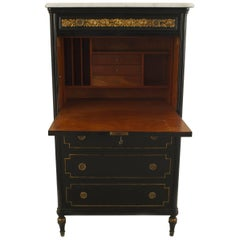 French Louis XVI Style Ebonized Abbatant Form Desk, 1940s
