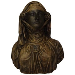 French Patinaed Plaster Bust of Eleanor of Aquitaine, circa 1920