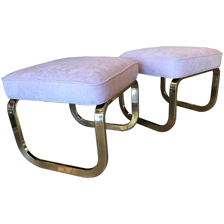 Pair of Brass and Pink Velvet Stools Benches Ottomans Hollywood Regency