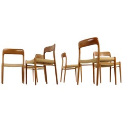 Six 1960s Danish Teak and Cane Dining Room Chairs by Niels O. Moller Mod. 75