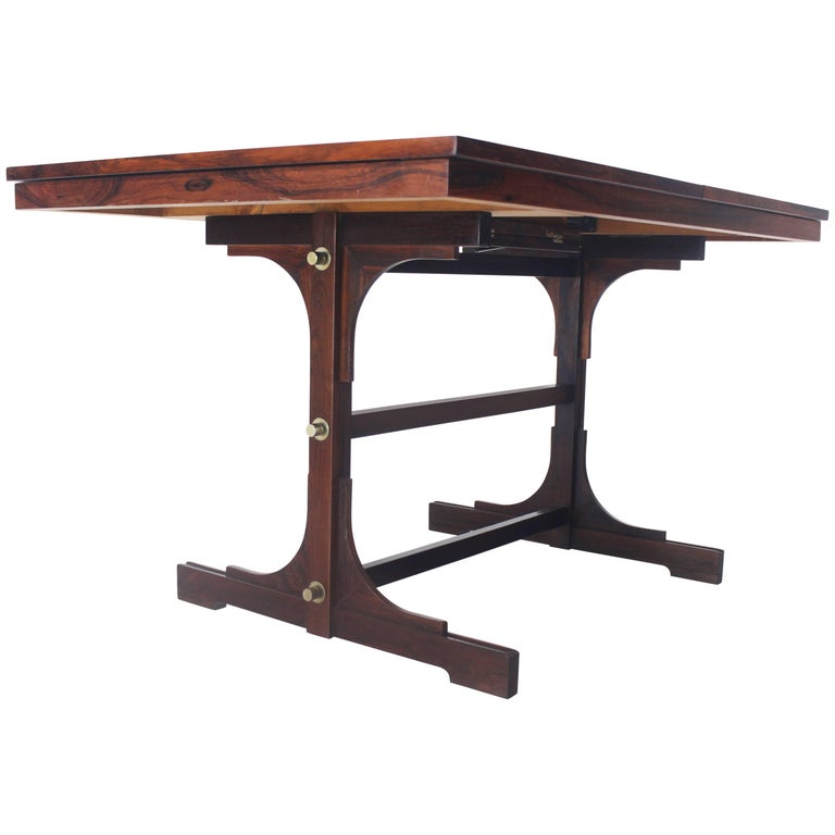 Danish Modern Rosewood Dining Table with One Pop-Up Self Storing Leaf