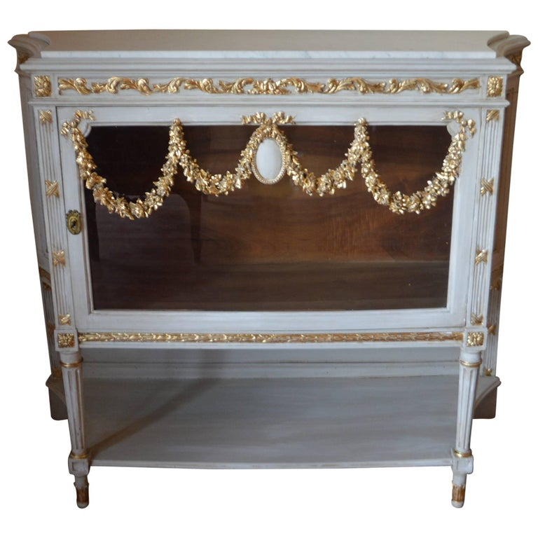 Louis XVI Style Painted Cabinet with Glass Door, Gilded Details, Marble Top