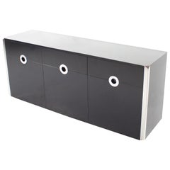 Black and Chrome Sideboard by Willy Rizzo for Mario Sabot, Italy, 1972