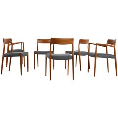 1960s Danish Teak Dining Room Chairs by Niels O. Moller Mod. 77 and Mod. 57