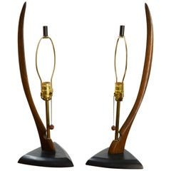 Pair of Modeline Lamps of California with Sweeping Body