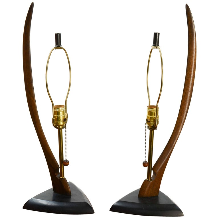 Pair of Modeline Lamps of California with Sweeping Body For Sale