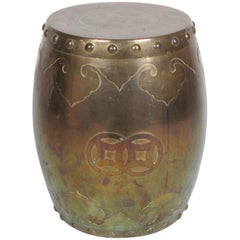 Solid Brass Asian Drum Side Table or Stool