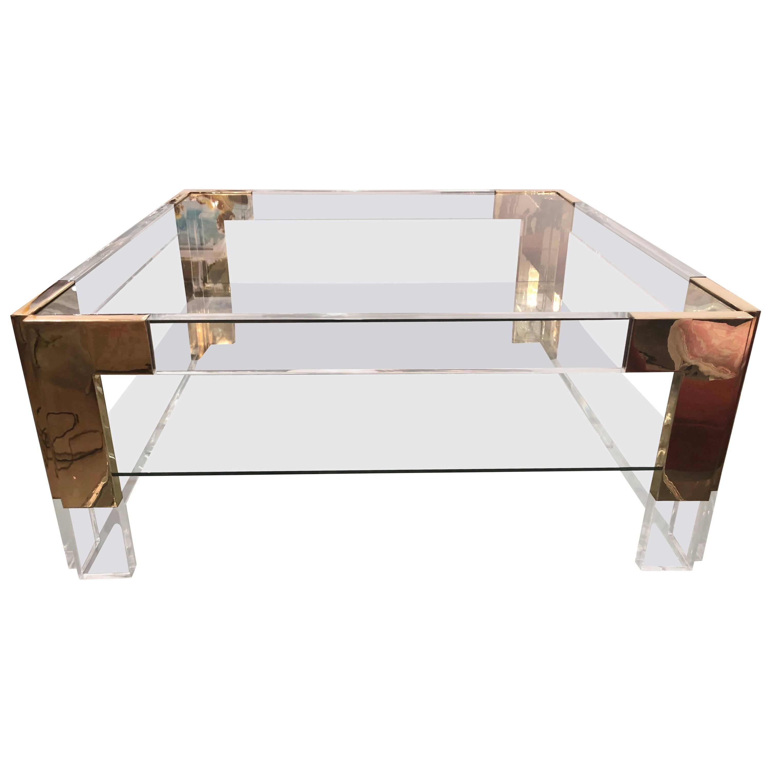 Brass And Lucite Two Tier Glass Coffee Cocktail Table Vintage Hollywood  Regency