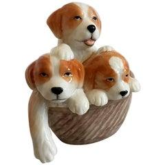 "Royal Copenhagen ""Puppy Collection"" Figurine of Mongrels in Basket #745"
