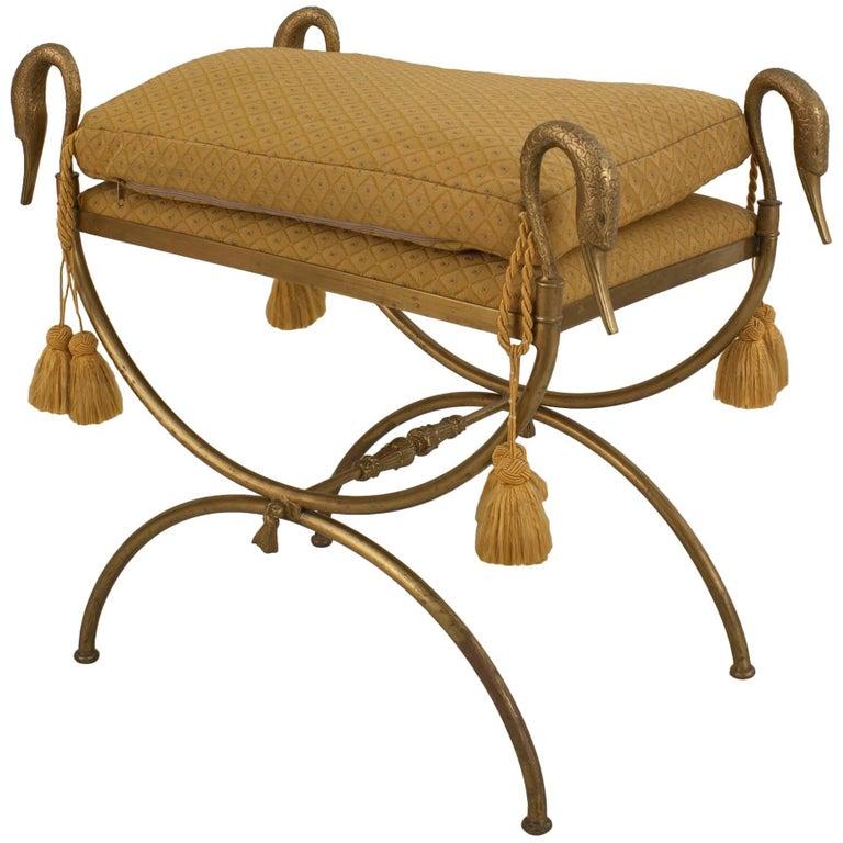 French 1940s, Directoire Style Gilt Bronze Cross Leg Bench