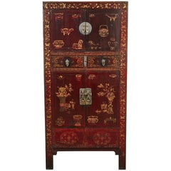 19th Century Black and Red Chinese Chinoiserie Lacquered Cabinet