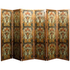 Room Divider Six-Panel Screen, Reverse Painted Glass, Maitland-Smith