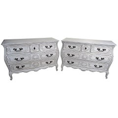 Pair of Painted Swedish Style Bombe Commodes Dressers Foyer Chests