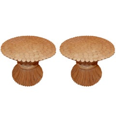 Pair of Mid Century McGuire  Wheat End Tables 1960s