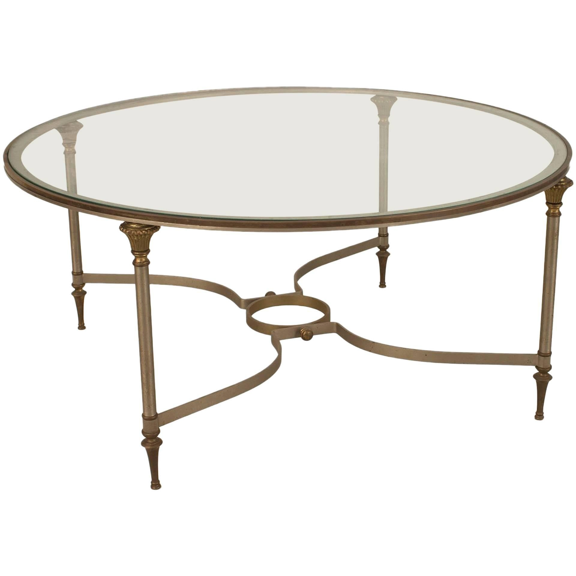 Modern Round Metal and Glass Coffee Table