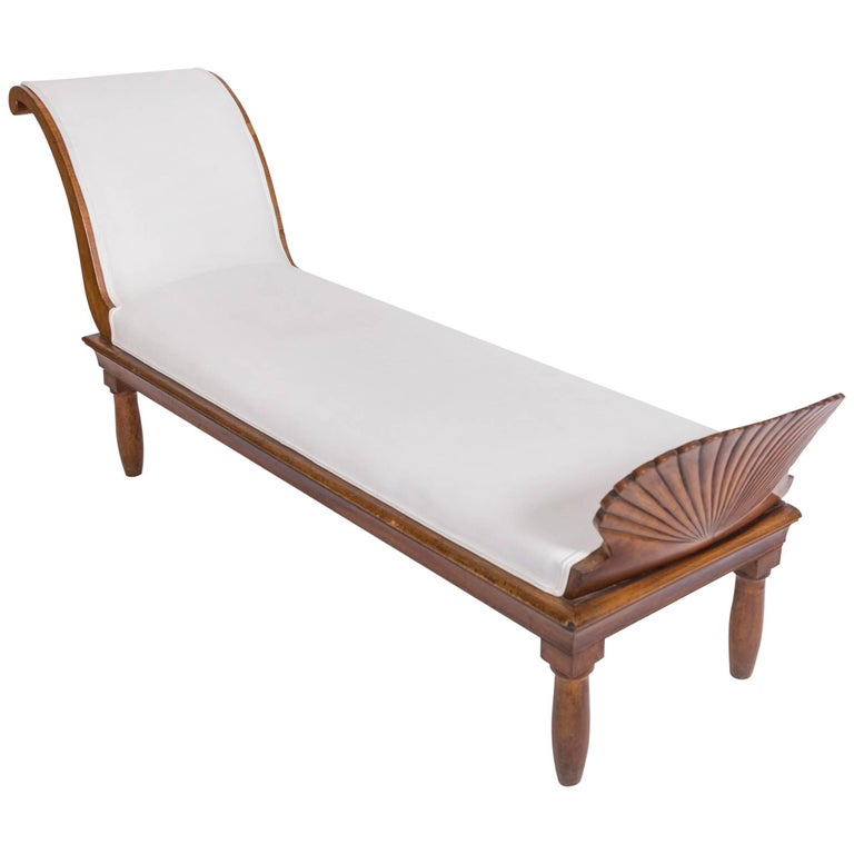 19c Italian Upholstered Walnut Chaise