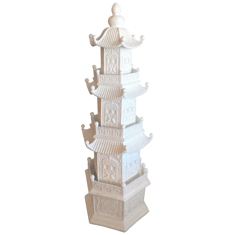 Vintage Large White Pagoda Statue Chinoiserie Garden