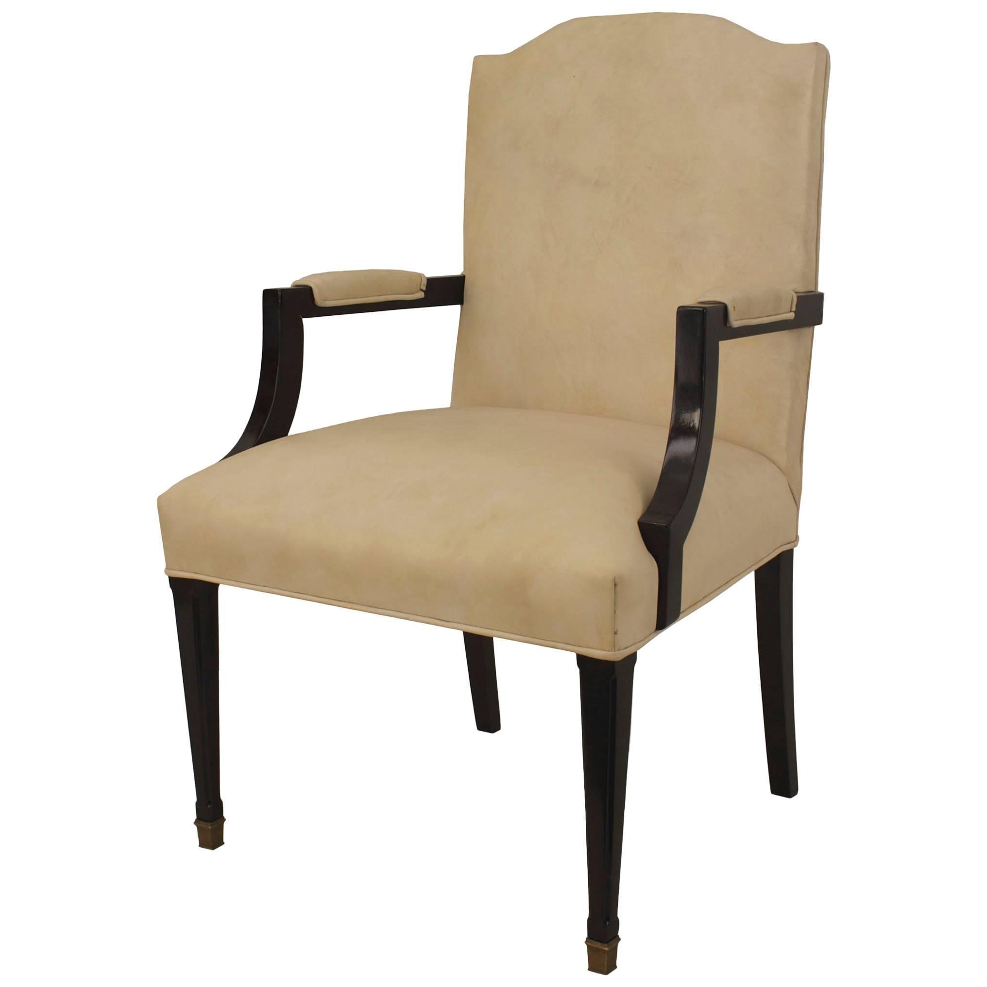 French 1940s 'Louis XVI Style' Ebonized Armchair