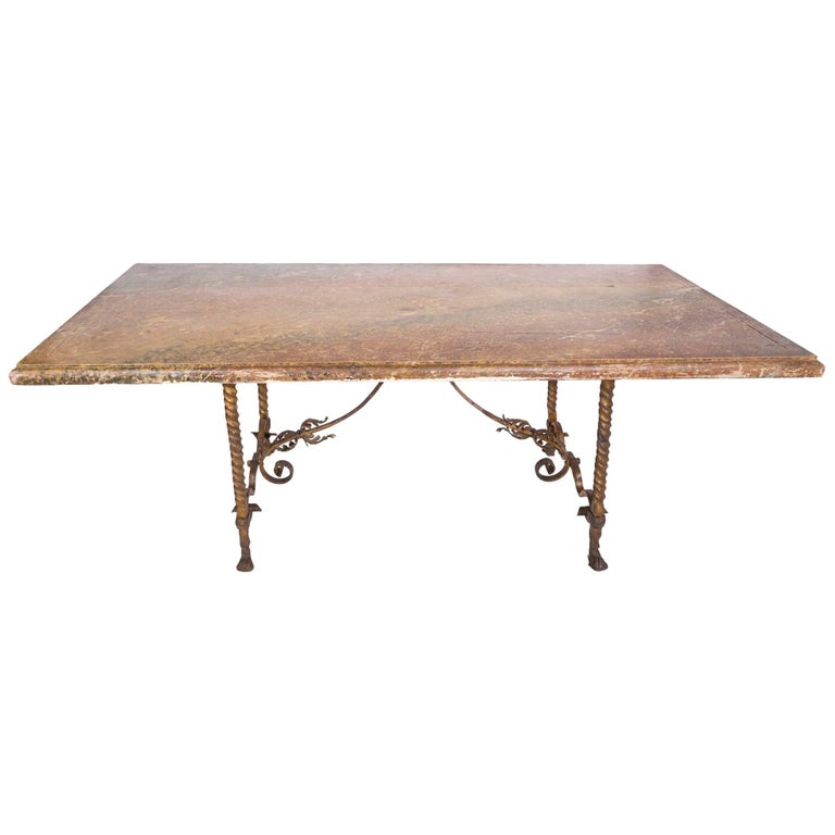 Vintage French Faux-Marble Table with Gilded Iron Base