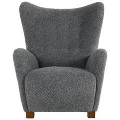 Large Danish Lounge Chair Wingchair Flemming Lassen Teddy Bear Fur Sheepskin
