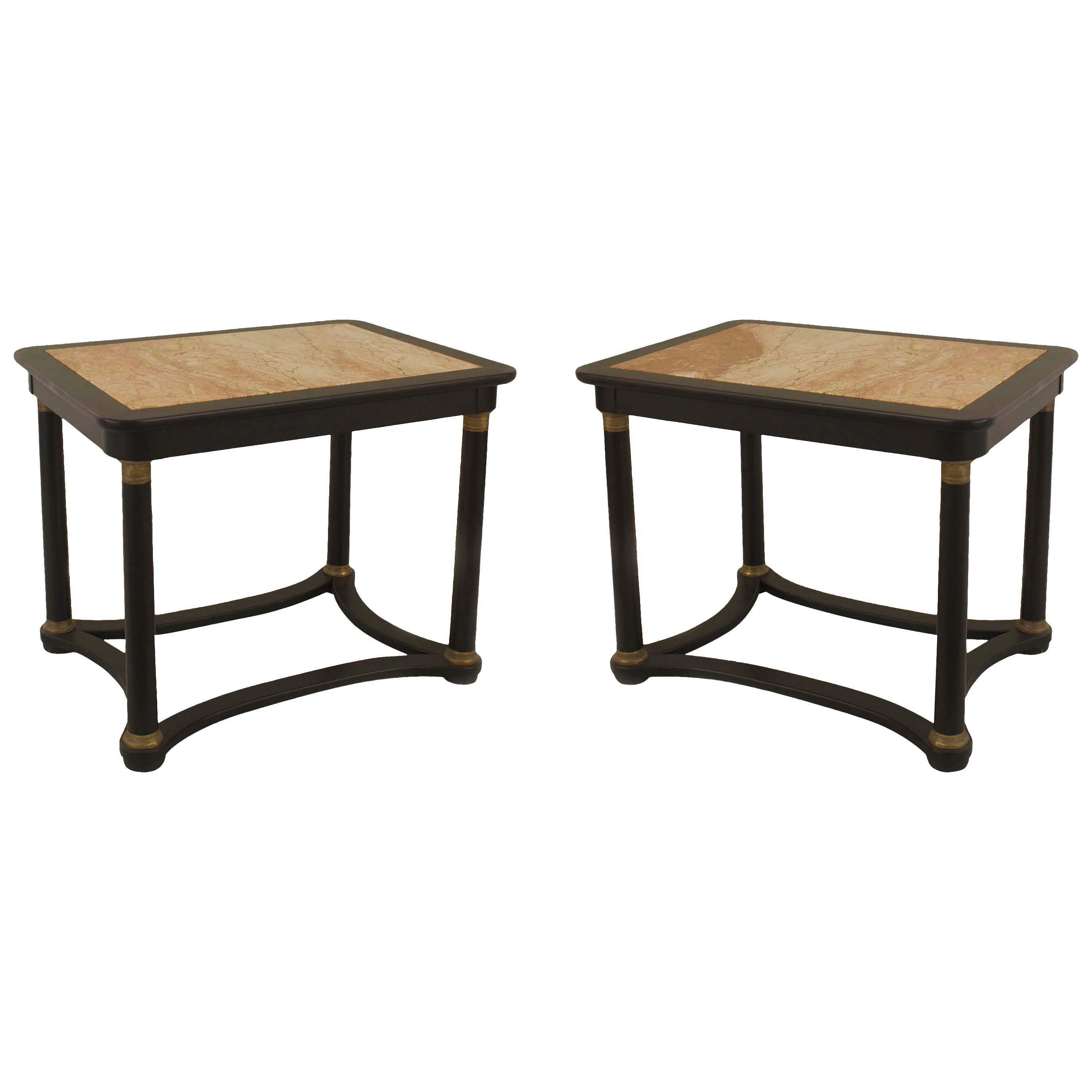 "Pair of French 1940s ""Regency Style"" Ebonized Low End Tables"