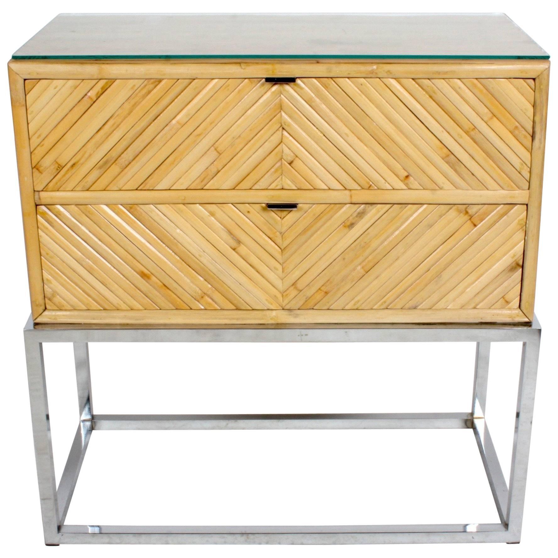 Milo Baughman Style Geometric Bamboo End Table or Nightstand