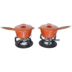 Pair of Danish Modern Orange Pots Sause Pans with Teak Handles and Food Warmers