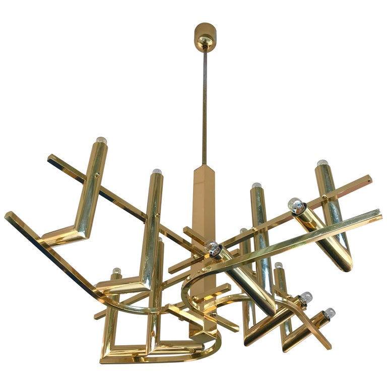 Brass Chandelier by Sciolari for Stilkronen, Germany, 1970s