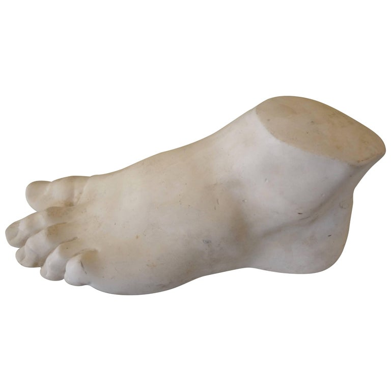 Interesting French patinated plaster foot maquette in classical Roman style. This vintage foot sculpture depicts the foot of Hercules.