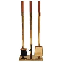 Midcentury Brass and Teak Fire Place Tools