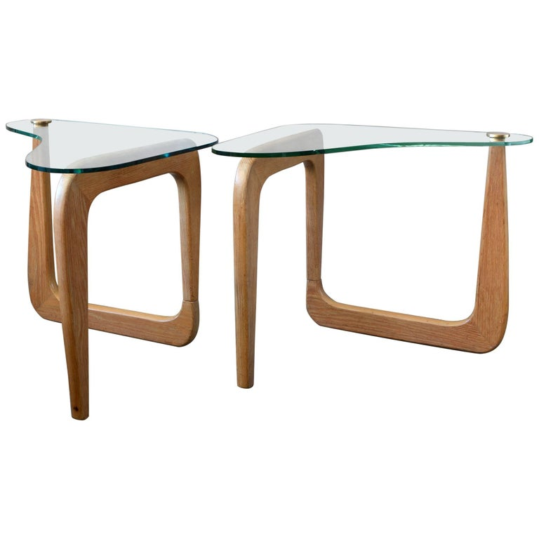 Pair of Sculptural Cerused Oak and Glass End Tables