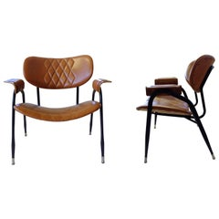 Pair of Leather Armchairs by Gastone Rinaldi for RIMA, Produced in the 1950s