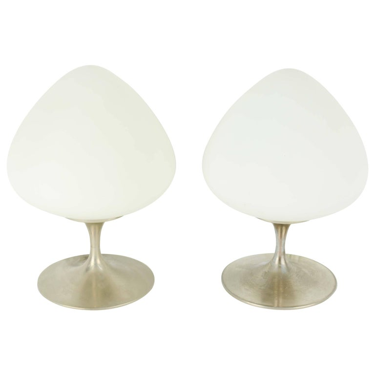 Pair of Bill Curry Acorn Laurel Lamps in Brushed Aluminum For Sale