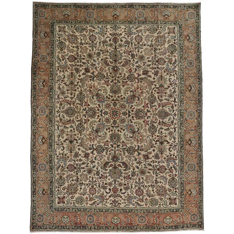 Vintage Persian Silk Qum Rug With European Romance Style
