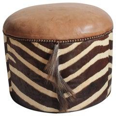 Midcentury Zebra Hide and Leather Ottoman