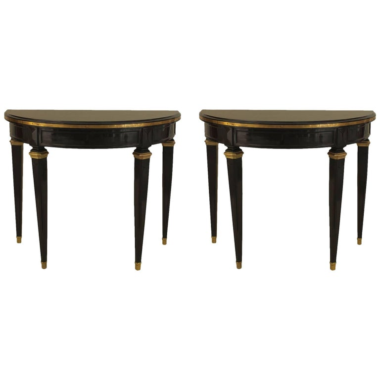 Pair of French 1940s, Louis XVI Style Console Tables