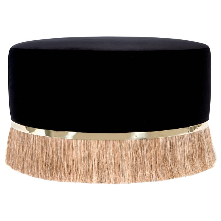 Contemporary 'Thing' Ottoman Poof with Brass, Velvet and Horse Hair