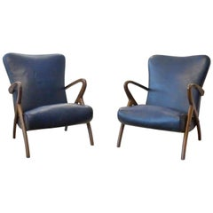 Pair of Reclining Armchairs in Rich Blue Leather and Wooden Frame, 1950s